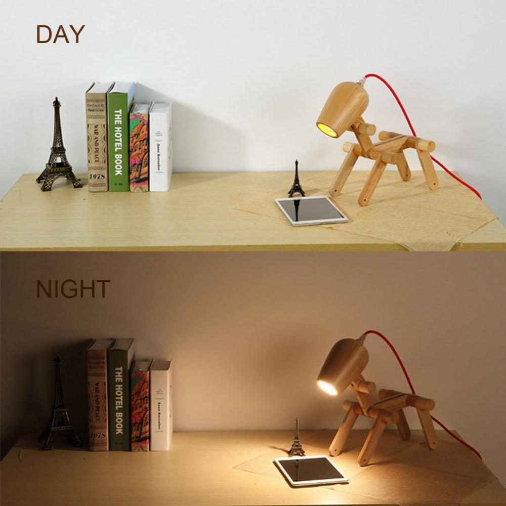 Mizzuco Natural Wooden Desk Lamp Modern Creative Dog Night Light