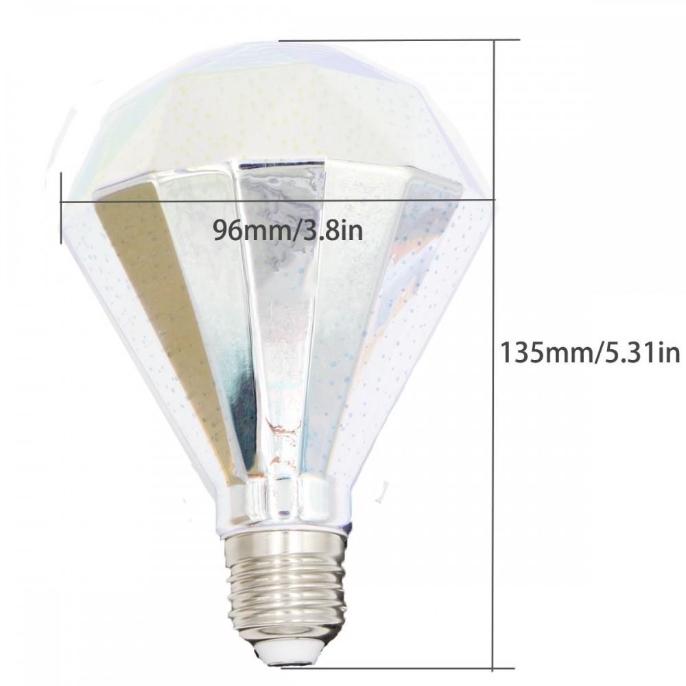 Mizzuco Colorful 3D Light Bulb Edison E27 LED Bulb Lamp G125 Filament  Fireworks Light Diamond Shape Warm ...